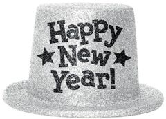 Happy New Year Top Hats - Silver