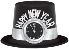 New Year's Clock Top Hat Black/ Silver