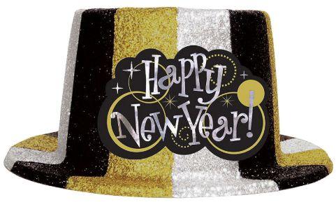 Glitter Plastic Top Hat - Black, Silver & Gold