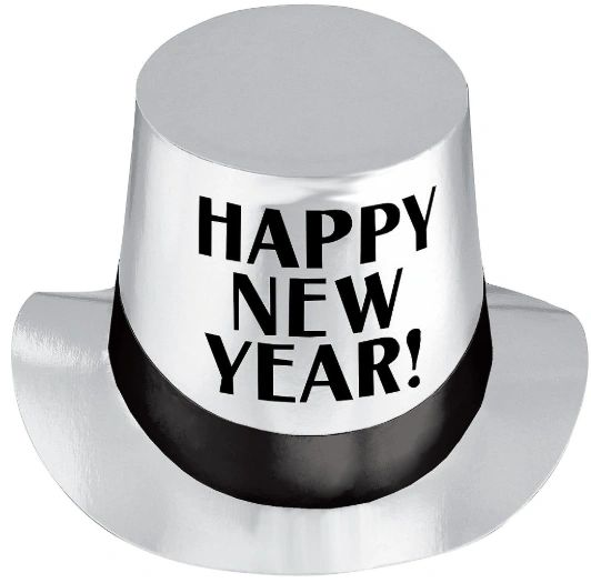Happy New Year Silver Top Hat