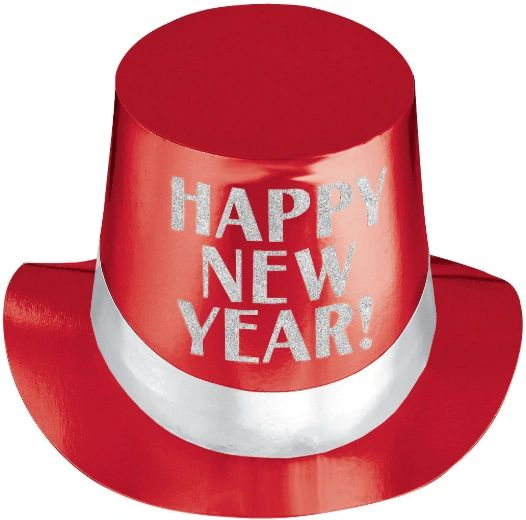 Happy New Year Red Top Hat - Jewel Tone
