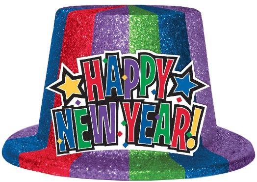 New Year's Glitter Top Hat - Jewel Tone
