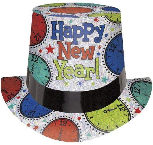 New Year's Prismatic Clock Top Hat - Jewel Tone