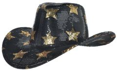 Cowboy Hat, Sequined - Black, Silver, Gold