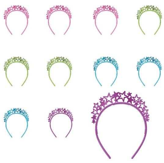 Let's Party Glitter Plastic Headband Multi-Pack - Multicolor, 12ct