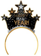 Happy New Year Tiara - Black, Silver, Gold