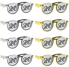 """2020"" New Year's Printed Glasses - Black, Silver, Gold, 8ct"