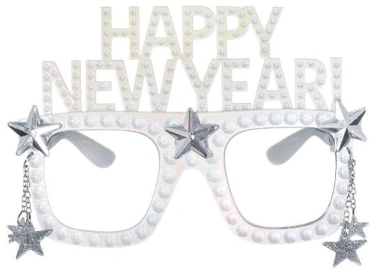 Happy New Year Glasses - White Iridescent