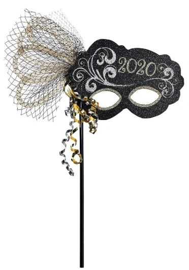 """2020"" Mask On a Stick - Black, Silver, Gold"