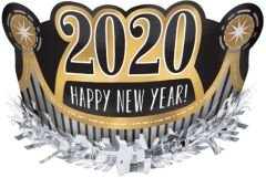 """2020"" Happy New Year Foil Crown - Black, Silver, Gold"