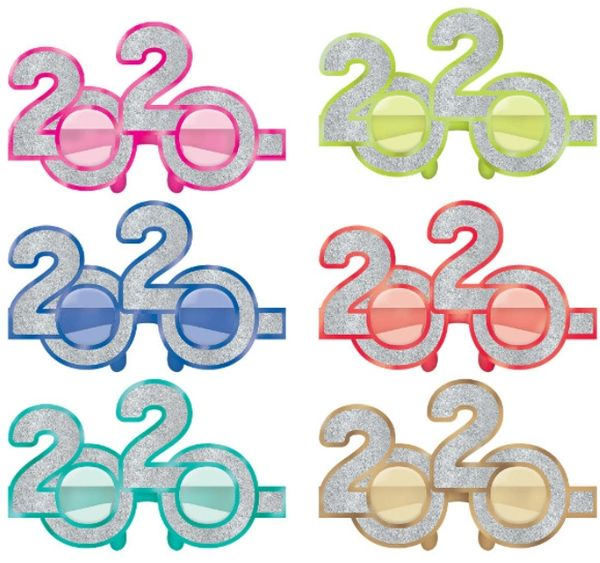 """2020"" New Year's Glitter Glasses - Jewel Tone, 6ct"
