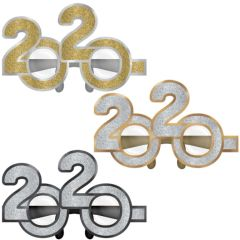 """2020"" New Year's Glitter Glasses - Black, Silver, Gold, 6ct"