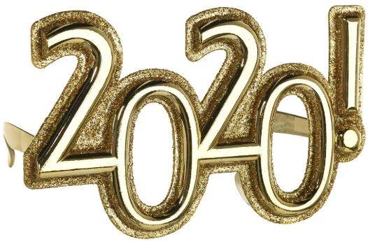 """2020"" New Year's Plastic Glitter Glasses - Gold"