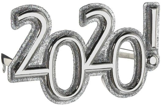2020 New Year's Plastic Glitter Glasses - Silver