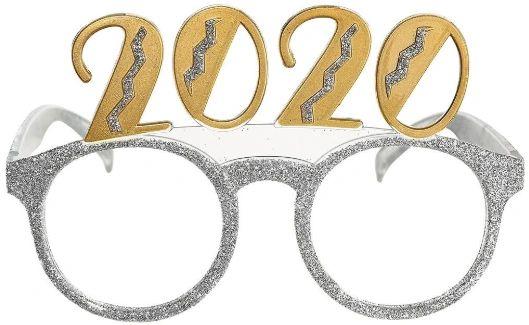 """2020"" Mixed Glitter Glasses - Silver"