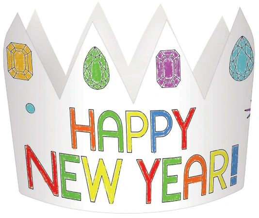 New Year's Eve Coloring Paper Crowns, 8ct