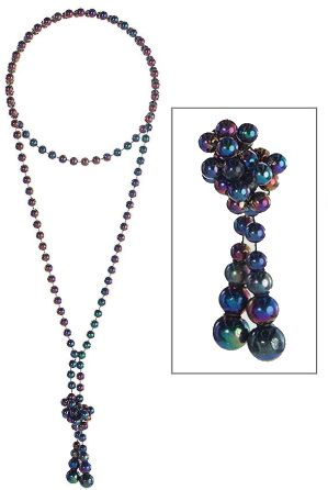 """Long Dark Faux Pearl Necklace, 29"""""""
