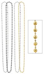 """Beaded Necklaces - Black, Silver & Gold, 60"""" - 4ct"""
