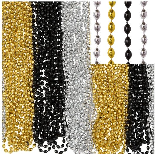 """Bead Necklace - Black, Silver, Gold, 30"""" - 100ct"""