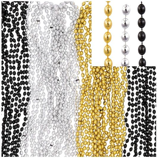 """Bead Necklace - Black, Silver, Gold, 32"""" - 50ct"""