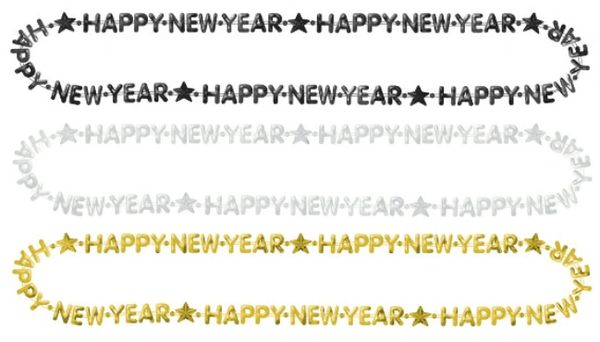 """Happy New Year Beads 3 Pack - Black, Silver, Gold, 33"""" - 3ct"""