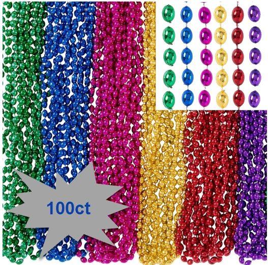 """Bead Necklace - Rainbow, 30"""" - 100ct"""