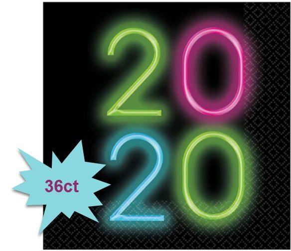 """2020"" New Year's Glow Luncheon Napkins, 36ct"