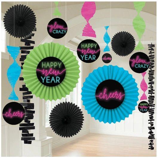 New Year's Glow Paper Fan Decorating Kit, 13pc