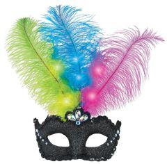 Light-Up Feather Masquerade Mask