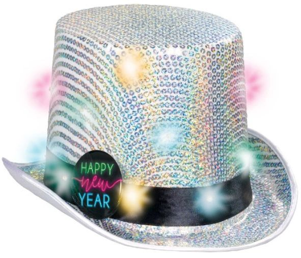 Happy New Year Light-Up Top Hat