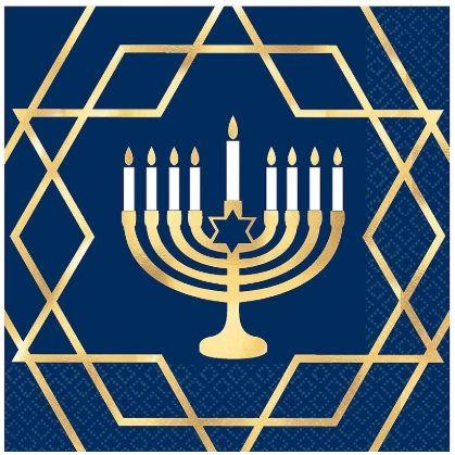 Premium Hanukkah Celebration Hot-Stamped Luncheon Napkins, 16ct
