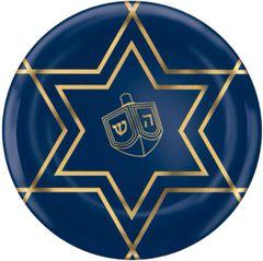 """Premium Hanukkah Celebration Plastic Coupe Dessert Plates, 7 1/2"""" - 20ct"""