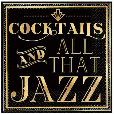 Cocktails And All That Jazz Beverage Napkins, 16ct