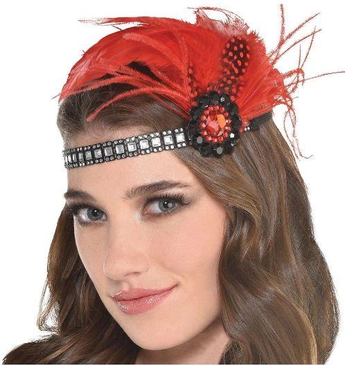Scarlet Fancy Feather Headband