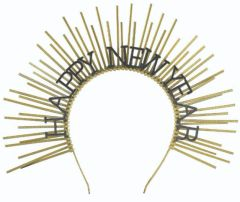 Happy New Year Spike Headpiece - Black and Gold