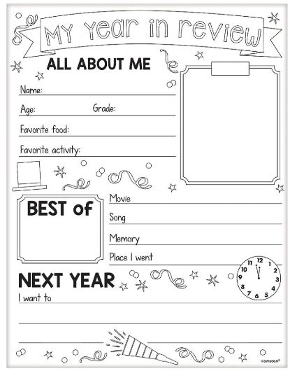 My Year In Review Activity Sheets, 30ct