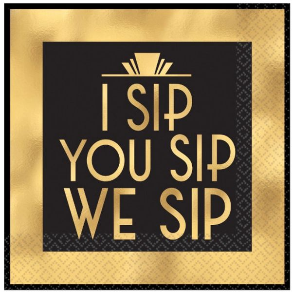 I Sip You Sip Beverage Napkins, 16ct