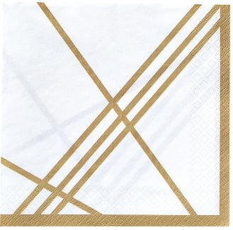 Gold Facet Beverage Napkins, 16ct