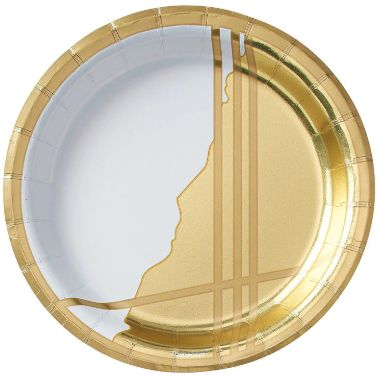 "Gold Facet Round Metallic Dessert Plates, 6 3/4"" - 8ct"