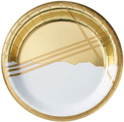 "Gold Facet Round Metallic Lunch Plates, 8 1/2"" - 8ct"