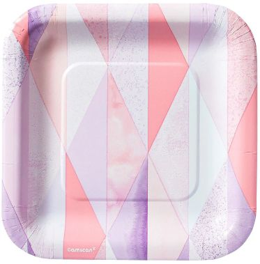 "Pink Geo Square Plates, 7"" - 8ct"