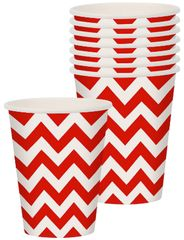 Apple Red Chevron Cups, 9oz - 8ct