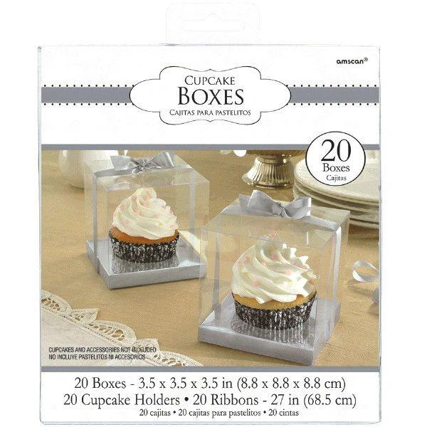 Silver Individual Cupcake Boxes, 20ct