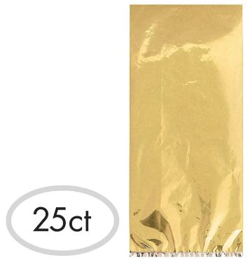 Small Cello Party Bag Gold Foil, 25ct