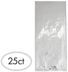 Small Cello Party Bag Silver Foil, 25ct
