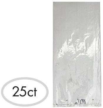 Small Cello Party Bag Silver Foil, 25ct
