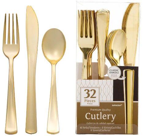 Premium Cutlery Asst. - Gold, 32ct