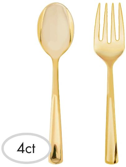 Serving Spoon & Fork Asst. - Gold, 4ct