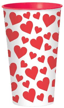 Happy Valentine's Day Large Plastic Cup, 32oz