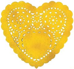 Gold Heart Doilies, 10ct
